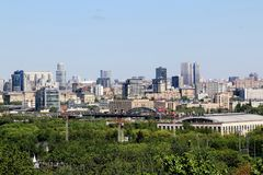 View of Moscow from the observation deck on the Vorbyevy mountains Sparrow Hills royalty free stock images