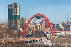 View of Moscow and the red bridge over the Moscow river Royalty Free Stock Images