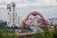 View of Moscow and the red bridge over the Moscow river Royalty Free Stock Photography