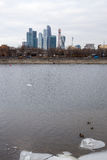 View of the Moscow river and buildings on the shore on a cloudy winter day. Moscow. Russia. royalty free stock images