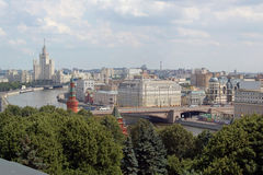 View of Moscow river and the city of Moscow. From height of bird's flight Royalty Free Stock Image