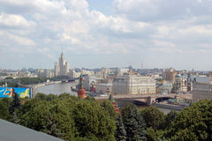 View of Moscow river and the city of Moscow. From height of bird's flight Royalty Free Stock Photography