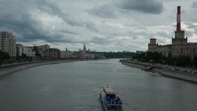 View of the Moscow River Embankment and Moscow stock video