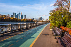 View on the Moscow river embankment and scyscrapers Royalty Free Stock Image