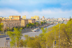 View on the Moscow river and embankments in spring Stock Photography
