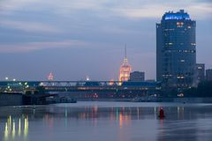 View of the Moscow River, Hotel Ukraina from Moscow-city. Royalty Free Stock Photography