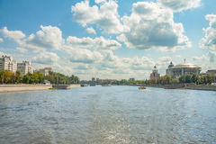 View of Moscow river, Krasnokholmskaya and Kosmodamianskaya embankments in summer from the steamboat royalty free stock photography