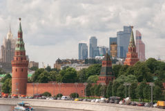 View of Moscow river and Kremlin embankment, the wall and monumental buildings of Moscow city.  Stock Photo