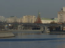The view of Moscow-river. View of Kremlin and Moscow-river, Moscow, Russia Royalty Free Stock Photo
