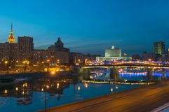 View of Moscow river at night, Stock Photography