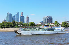 View of Moscow river, pleasure boat, Russia Royalty Free Stock Photo