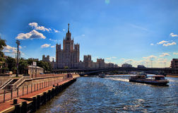 View of the Moscow River and a pleasure boat. Stock Photos