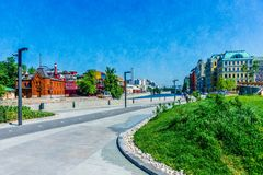 View of Moscow river promenade embankment Royalty Free Stock Images