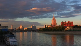View of the Moscow river in the rays of the setting sun stock video footage