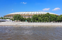 View from Moscow River on Stadium, Moscow, Russia Royalty Free Stock Photography