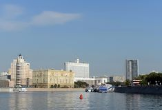 View from the Moscow river To the house of the Government of the Russian Federation. MOSCOW, RUSSIA-SEPTEMBER 15, 2018: View from the Moscow river To the house royalty free stock photography
