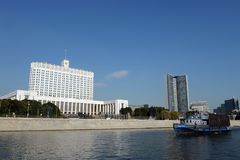 View from the Moscow river To the house of the Government of the Russian Federation. MOSCOW, RUSSIA-SEPTEMBER 15, 2018: View from the Moscow river To the house royalty free stock image