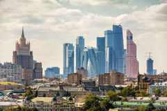 View of Moscow, Russia. The building of the Ministry of Foreign Affairs and Moscow International Business Center Moscow-city royalty free stock image