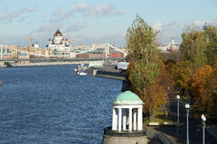 View of Moscow, Russia. Moskva River. Pushkinskaya Embankment Stock Image