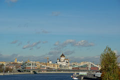 View of Moscow, Russia. Moskva River. Pushkinskaya Embankment Royalty Free Stock Photos