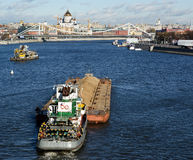 View of Moscow, Russia. Boats on the Moskva River Royalty Free Stock Photos