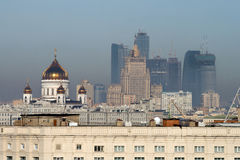 View of Moscow with some landmarks Stock Images