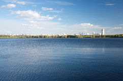 View of Moscow from Stroginsky Bay on sunny autumn day Royalty Free Stock Photos