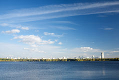 View of Moscow from Stroginsky Bay on sunny autumn day Stock Images