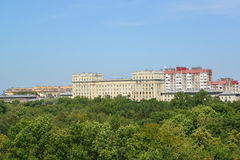 View of the Moscow Victory park and Kuznetsovskaya Street. St. Petersburg Stock Photos