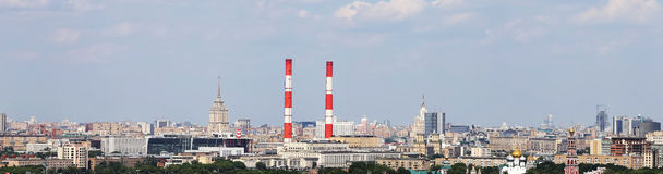 View of Moscow from Vorobyovy Hills, Russia Royalty Free Stock Photo