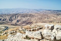 View of Mose's Promised Land from Mt. Nebo Madaba, Jordan royalty free stock photos