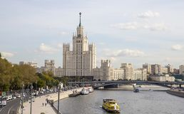 View of Moskva river and Kotelnicheskaya Embankment Building from new floating bridge in Zaryadye park, Moscow, Russia Stock Images