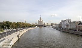 View of Moskva river and Kotelnicheskaya Embankment Building from new floating bridge in Zaryadye park, Moscow, Russia Royalty Free Stock Images