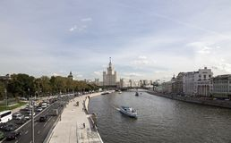 View of Moskva river and Kotelnicheskaya Embankment Building from new floating bridge in Zaryadye park, Moscow, Russia Royalty Free Stock Photography