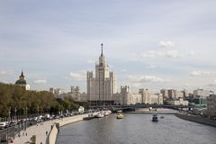 View of Moskva river and Kotelnicheskaya Embankment Building from new floating bridge in Zaryadye park, Moscow, Russia Stock Photo