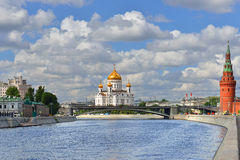 View of Moskva River, Kremlin and Cathedral of Christ Savior Royalty Free Stock Image