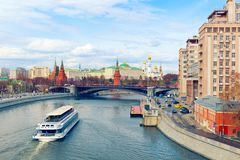 View of Moskva River and Kremlin. Moscow, Russia Stock Image