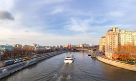 View of Moskva River and Kremlin. Moscow, Russia stock photography