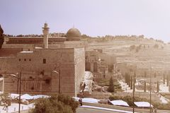 View of the Mosque Al Aqsa and old city of Jerusalem with Ancien Royalty Free Stock Photos