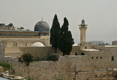 View of the Mosque Al Aqsa and old city of Jerusalem. With Ancient wall fragment.Israel Royalty Free Stock Image