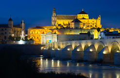 View of Mosque-cathedral of Cordoba and Roman bridge Stock Images
