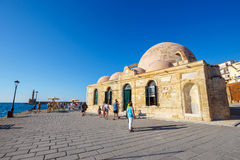View of Mosque of the Janissaries or Giali Tzami Mosque in Chania on Crete, Greece Royalty Free Stock Image