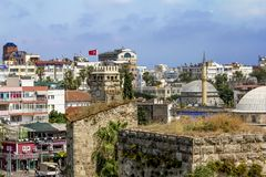 View of the mosque in the old town of Kaleici in Antalya . Royalty Free Stock Photo