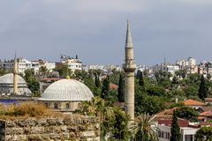 View of the mosque in the old town of Kaleici in Antalya . Stock Image