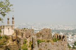 Mosque at Golcanda Fort, Hyderabad. View of the mosque and ramparts at Golcanda Fort overlooking the city of Hyderabad, India.  The Medieval fortress was built Stock Images
