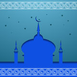 View of mosque in shiny blue night background for holy month  Ra Royalty Free Stock Image