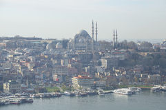 View of the mosque of Suleiman the Magnificent january morning. Istanbul Royalty Free Stock Image