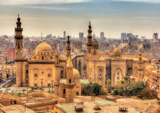 View of the Mosques of Sultan Hassan and Al-Rifai in Cairo Royalty Free Stock Photography