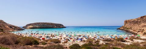 View of the most famous sea place of Lampedusa called Spiaggia dei conigli. LAMPEDUSA, ITALY - AUGUST, 03: View of the most famous sea place of Lampedusa, It is royalty free stock images