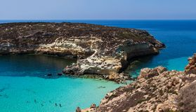 View of the most famous sea place of Lampedusa called Spiaggia dei conigli. LAMPEDUSA, ITALY - AUGUST, 03: View of the most famous sea place of Lampedusa, It is stock image